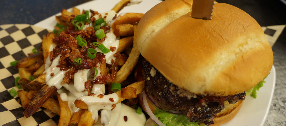 Delicious Bleu Cheese Burger with Bacon